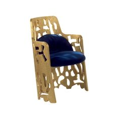 Zanaboni for Borbonese Arnaldo Gold Armchair 2 ($4,275) ❤ liked on Polyvore featuring home, furniture, chairs, accent chairs, blue arm chair, blue furniture, abstract furniture, blue accent chair and gold chair