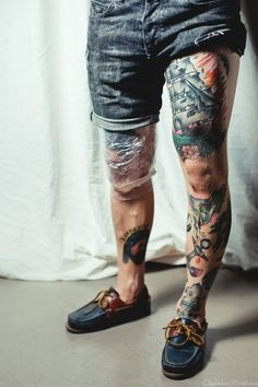 Classy! Awesome tattoos on the legs of this guy. #tattoo #tattoos #ink #inked
