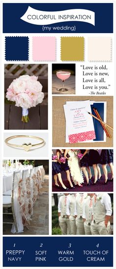 Exactly the color scheme I'm going for!  The cream and gold (and burlap?) are the neutrals that bring the pink (light pink/blush, not the bolder pink) and navy together! Preppy navy, soft pink, warm gold and a touch of cream.