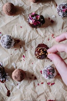 Simple + Easy Raw Vegan Adaptogen Coconut Cacao Bliss Ball recipe with Reishi & He Shou Wu. These healthy, protein and superfood packed energy bites are made with dates, almonds, raw chocolate powder, and healing herbs making them the perfect dairy-free, gluten-free, paleo, and Whole 30 friendly snack! Even kids love them!