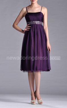 Spaghetti A-line Chiffon Knee-length Dress With Beaded Belt