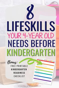 Teach your four year old more than ABC's and Make sure the are ready for kindergarten by teaching them these 8 essential life skills! Preschool Readiness, Preschool Schedule, Preschool Curriculum, Preschool Assessment, Homeschooling, Kindergarten Checklist, Before Kindergarten, Preschool Kindergarten, Pre K Activities