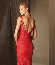 Pronovias > BIRMANIA - Vestido de festa sereia, decote em coração, renda e tule