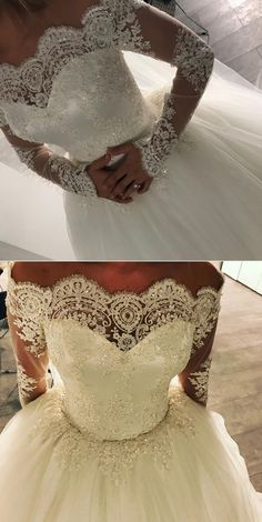 Off-the-shoulder Lace Long Sleeves Tulle Ball Gowns Wedding Dresses 2018