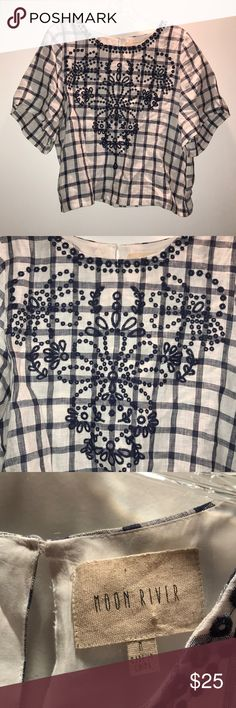 Anthropologie Embroidered Blouse Beautiful Anthropologie embroidered blouse. Navy blue blouse paired with checkered design. Great to pair with your favorite denim! Perfect condition Anthropologie Tops Blouses