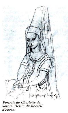 Portrait de Charlotte de Savoie, sanguine du Recueil d'Arras (Bibliothèque municipale d'Arras) - Reine de France (louis XI), fille de Louis I° duc de Savoie et prince de Piémont et d'Anne de Chypre-Lusignan. Elle fut reine-consort de France :22 juillet 1461-30 octobre 1483 (22 ans 1 mois et 8 jours) et Dauphine de France: 9 mars 1451-22 juillet 1461 (10 ans, 4 mois, 13 jours). Maison de Lorraine, née le 11 novembre 1441, décédée le 1° déc 1483 à 42 ans à Amboise. Nécropole de St-Denis.