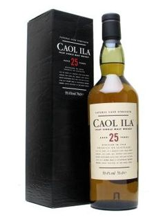 Caol Ila 25 Year Old. Subtly peated, smoothest of the Islay single malts.