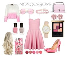 """""""Pink"""" by sarashic-7 ❤ liked on Polyvore featuring Boohoo, Christian Louboutin, WithChic, Fendi, Casetify, Nine West, Kjaer Weis, Yves Saint Laurent and Deborah Lippmann"""