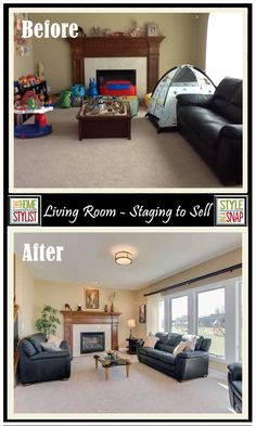 "Before and After: LIThis living room is a great example of ""how we live"" and ""how we stage"" are different. The Before Photo looks like a normal house with young children. The After Photo is how it went on the market. They got it sold in one week! - See more at: http://styleinasnap.com/blog/#sthash.UBzFi97d.6pPo6D3z.dpufving Room – Staging to Sell"