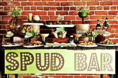 a baked potato bar sounds fairly inexpensive and super fun!