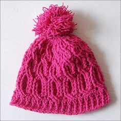 Cable crochet beanie hat with pompom