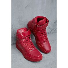 Forever21 Radii Glossy Sneakers ($120) ❤ liked on Polyvore featuring men's fashion, men's shoes, men's sneakers, red, mens high top shoes, mens platform sneakers, mens lace up shoes, mens red sneakers and mens red high top sneakers