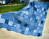 Upcycled Organic Denim Quilt - Ecofriendly Custom Denim Rag Quilt - Repurposed Jean Blanket - Sustainable Housewares - Natural Bedding by CrookedSeamz on Etsy