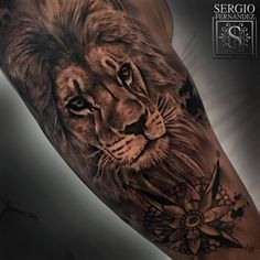 Tattoo Filter — Black and grey style lion and compass on the right...