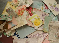 Vintage Assorted Wallpaper Scrap Pack in Handmade Artsy Envelope by ElegantFarmhouse, Vintage Cards, Vintage Images, Peeling Wallpaper, Fancy Envelopes, Retro Interior Design, Project Yourself, Scrapbooks, Altered Art, Fabric Patterns