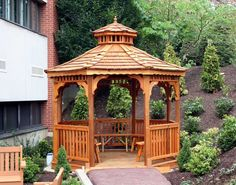 Red Cedar Single Roof Octagon Gazebos