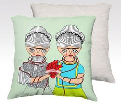 """Pillow Case - 2 Fridas One Heart - home decor  by Caracarmina (2 sizes available: 22"""" and 18"""") :D"""
