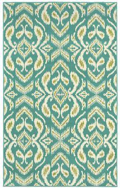 "Area Rug in style ""Ikat"" color Turquoise - by Shaw Floors in the Al fresco collection for indoor/outdoor use."