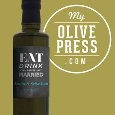 Wedding gift / favor custom and personalized Olive Oil by My Olive Press, $24.90. Create your own at www.myolivepress.com #weddinggift #wedding #weddingfavor