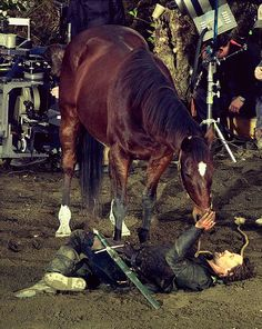 Viggo bonded so much with the horse he rode in the Lord of the Rings series that after they finished filming, he purchased the horse from its owner. He ALSO bought the horse used by Arwen's stunt double in The Fellowship of the Ring when it was put up for auction, and GAVE it to the stunt double because she couldn't afford it herself. GAWD!  This is a sexy picture!!!!!!!!