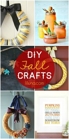A roundup of DIY Fall Crafts - Cute and EASY! See it on { lilluna.com }