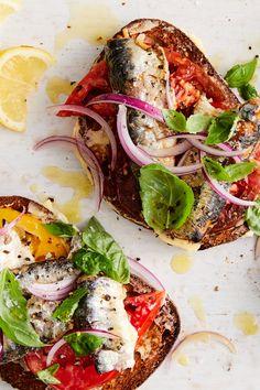 Sardine Toasts With Tomato and Sweet Onion Recipe - NYT Cooking - Fish/Seafood - Sardline Sardine Recipes, Lunch Recipes, Seafood Recipes, Cooking Recipes, Healthy Recipes, Breakfast Recipes, Weeknight Recipes, Mexican Breakfast, Cooking Fish