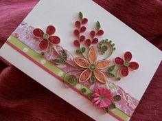 Duraznos y flores quilled felicitación rosa por Botaniquills