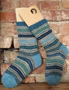 Hand knitted wool socks from naturally dyed yarns. Indigo.