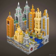 Jeff Friesen builds incredible micro cities using various techniques to portray different styles and time periods. His works pack a large amount of detail into a stud footprint that incl… Lego Modular, Lego Design, Casa Lego, Lego Universe, Micro Lego, Lego Boards, Cool Lego Creations, Lego Photography, Lego Architecture