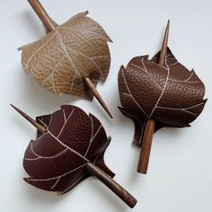 Leaf Hair Stick Barrette - Eco Friendly Leather. $15.00, via Etsy.