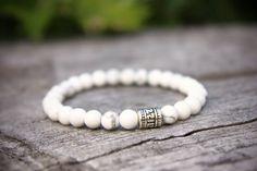 Howlite Bracelet White Howlite Bracelet Natural by CrystalRelics