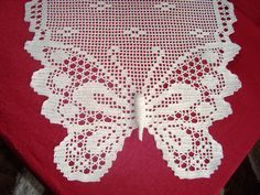 Items similar to Table runner / placemat - Butterfly motifs - Handmade crocheted - 100 per 100 cotton - Ecru color - Dimensions : 92 cm x 42 cm on Etsy Filet Crochet Charts, C2c Crochet, Crochet Doily Patterns, Crochet Pillow, Crochet Doilies, Free Crochet, Crochet Butterfly, Ecru Color, Needlework