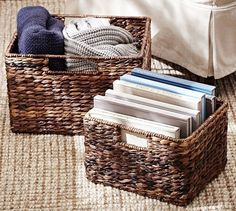 basket from Pottery Barn. Pottery Barn's expertly crafted collections offer a widerange of stylish indoor and outdoor furniture, accessories, decor and more, for every room in your home. Fabric Storage, Decorative Storage, Storage Baskets, Tote Storage, Pottery Barn, Large Baskets, Wicker Baskets, Woven Baskets, Rattan