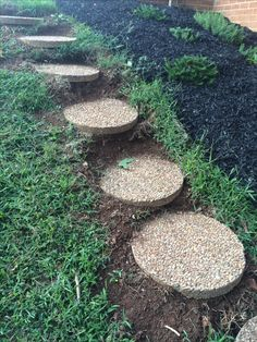 DIY hill steps, for those who have trouble walking down steep hills. This can easily be done. Over time the grass will grow around it and the stones will settle giving it a more natural lovely look.