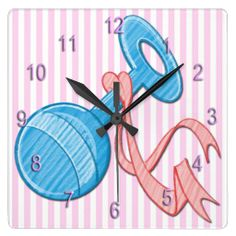 The adorable Girl Baby Rattle Square Wall Clock features a light pink and white striped background that is customizable, light blue baby rat...