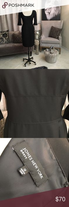 Black Empire Waist Dress The JONES Group has always turned out quality Dress wear. This dress does not fall short. It's the simplicity yet sharpness of this black dress I appreciate. Attention to detail; pleated sleeve ends, full lining, hidden zipper, princess seams, side pockets, deep scoop neckline, empire waist. With all the details it's hard not to like. JONES NEW YORK Dresses