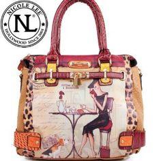 Nicole Lee Gitana Vintage Illustration Art Coffee Print Pad Lock Handbag Hollywood Celebrity Adjustable-strap Shoulder Satchel Handbag in Wine Burgundy Leopard,