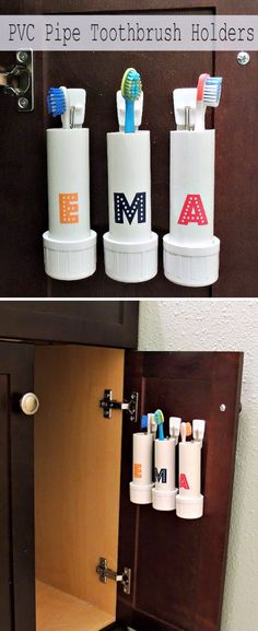 PVC Pipe Toothbrush Holders Click Pic for 16 DIY Bathroom Storage Ideas on a Budget DIY Bathroom Storage Ideas for Small Spaces Small Bathroom Organization, Small Space Bathroom, Small Spaces, Small Bathrooms, Modern Bathrooms, Small Rooms, Bathrooms Decor, Diy Bathroom, Simple Bathroom
