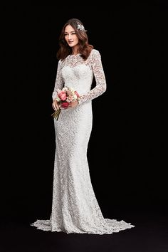 Melissa Sweet's sheath wedding dress with sleeves features head-to-toe lace and a stunning illusion open back. Exclusively at David's Bridal.