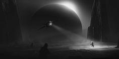 Composition sketches by Thu Berchs Dark Drawings, Futuristic City, Environment Design, Cyberpunk, Science Fiction, Composition, Sketches, Darth Vader, Concept