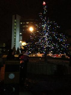 Tree of Hope, Downtown Pontiac.  This year lit in honor of Fran Anderson and her husband.