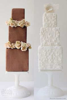 Bride and Groom cakes, modern and very cute.