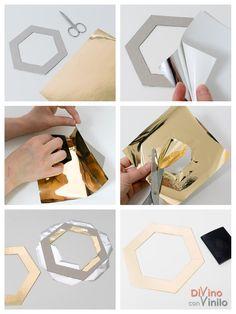 paso a paso para forrar marcos hexagonales con láminas de oro adhesivas Clay Crafts, Wall Art, Diy, Bed Room, Ocean, Craft, Dorm Stuff, Step By Step, House Decorations