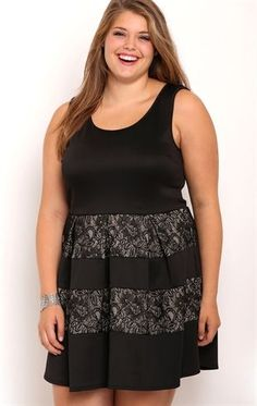 Deb Shops Plus Size Homecoming Skater #Dress with Lace Skirt and Keyhole Cutout $40.00