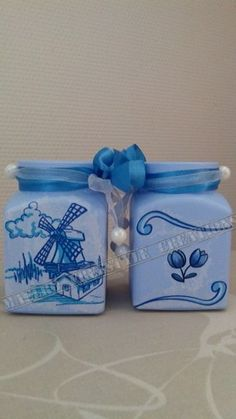 Waxinelichtje blauw holland
