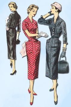 1950s Vintage Advance Sewing Pattern 8042 Uncut Misses Slender Dress Sz 14 32B