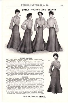 1904 Ad, Ladies Corseted Fashions, Shirtwaists, Long Skirts, Golfing Costume,  via Etsy.