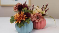 undefined Plastic Pumpkins, Foam Pumpkins, Thanksgiving Crafts, Fall Crafts, Fall Halloween, Halloween Crafts, Pumpkin Vase, Pumpkin Decorating, Flower Power