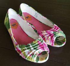 Rocket Dog floral fabric open toe ballet flats shoes womens size 6M #RocketDog #BalletFlats #Casual