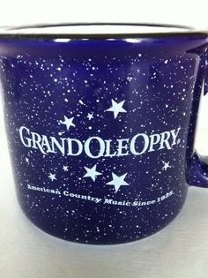Grand Ole Opry Mug Cup Blue Speckled Heavy Pottery M Ware Home of Country Music